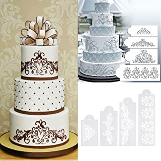 Xiaolanwelc@ 4pcs Plastic Stencils for Cookies Flower Cake DIY Wedding Lace Cake Decorating Tools
