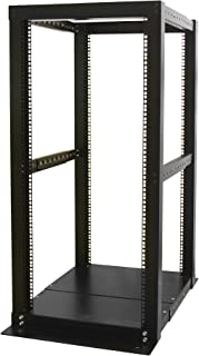 StarTech.com 4 Post Open Frame Rack - 25U Rack Cabinet - Heavy Gauge Mounting Rails - Open Frame - Server Rack (4POSTRACK25)