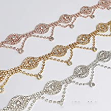 Rhinestone Tassel Trim with Crystal Beaded in Hot Rose Gold Color Metal by 1 Yard for Wedding Dress Jewelry Accessory (Gold)