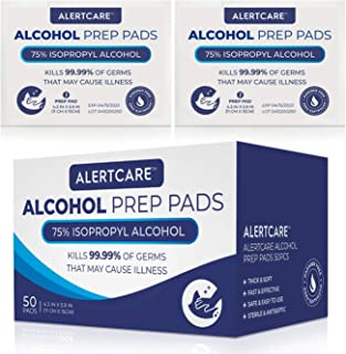 AlertCare Alcohol Prep Pads - Medical-Grade Sterile - 75% Alcohol Cotton Slices - 50 Pcs Large Size Gauze Pads Individually Wrapped - 11 x 15cm/4.3in x 5.9in