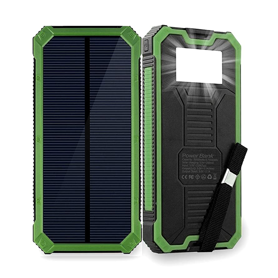 Solar Phone Charger Friengood 15000mAh Portable Solar Power Bank with Dual USB Ports, Waterproof Solar Battery Charger with 6 LED Flashlight Light for iPhone, iPad, Cellphone and More (Green) e1011196627379