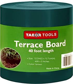 TABOR TOOLS Terrace Board, Landscape Edging Coil, 1/25 Inch Thick, 5 Inch High. ES20. (40 Feet, Green)