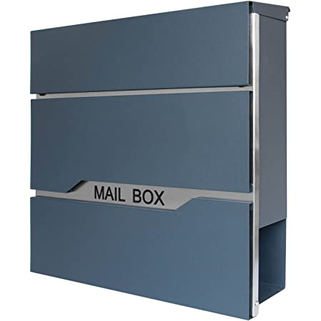 LZQ Neu Typ Zeitlosem Design Edelstahl Briefkasten Abschlie/ß bar Modell H Wandbriefkasten mit Zeitungsfach A4 Einwurf-Format