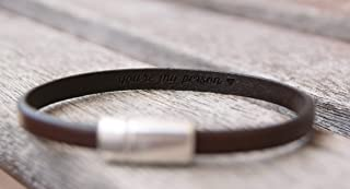 1 Thin Leather Bracelet Hidden Message Personalized