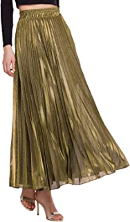 AMORMIO 💕 Women's Glittery Gold/Silver High-Waist Metallic Accordion Pleated Formal Party Maxi Skirt