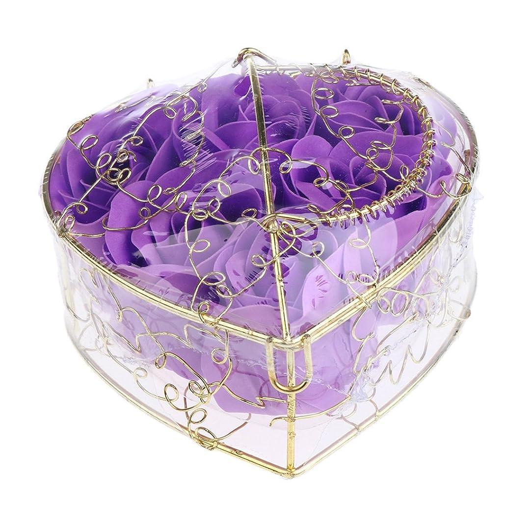 今後奇跡やりがいのあるBaosity 6個 ソープフラワー 石鹸の花 バラ 薔薇の花 ロマンチック 心の形 ギフトボックス 誕生日 プレゼント 全5仕様選べる - 紫
