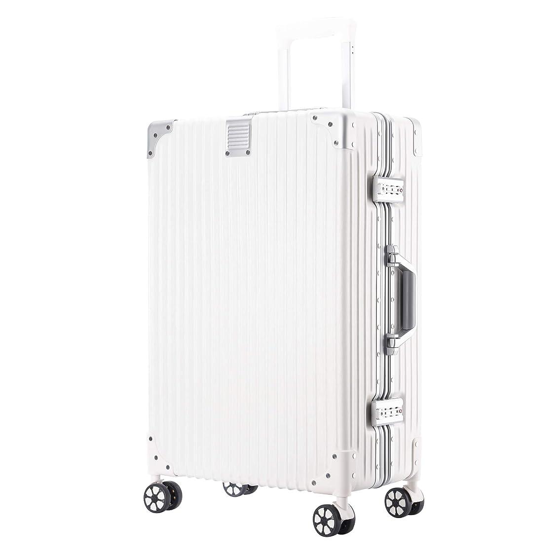 ホーン租界影響する(P.I.) スーツケース キャリーケース TSAロック 半鏡面 アルミフレーム レトロ 旅行 出張 静音 超軽量 (XL, ブラック)