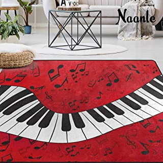 Naanle Music Theme Area Rug 5'x7', Music Not