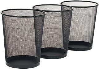 DDBO Steel Round Mesh Wastebasket Recyling Bin - Waste Paper Basket Trash Cans for Bathroom, Bedroom, Office (Pack of 3, B...