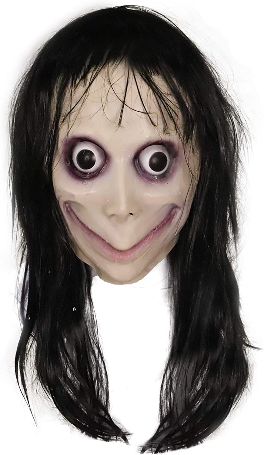Halloween Black Long Hair Latex Mask Scary Fancy Party Costume Cosplay Mask Prop
