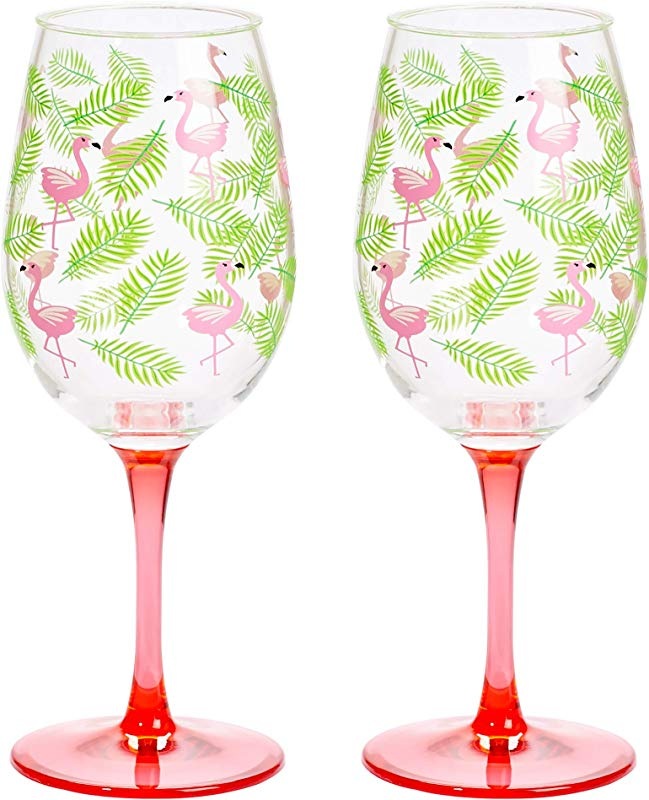 C R Gibson Tropical Pink Flamingo And Palm Leaf Plastic Wine Glass Set 2pcs 16 Oz 3 5 W X 8 75 H