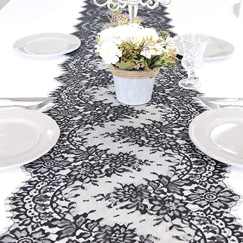 ARKSU Black Lace Table Runner 16x120 Inch For Rustic Wedding Thanksgiving Baby Bridal Shower Party Decor