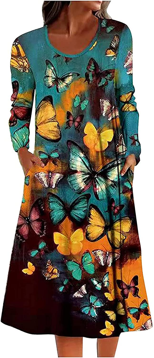 Autumn Comfy Print Dress for Women O N ECK Long Sleeve Casual Midi Dress Loose Straight Dress with Pockets