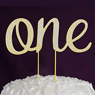 Crystal One Birthday Cake Topper First 1st Gold Girl Boy Big Alloy Metal Letters