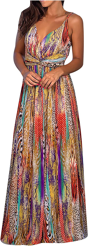 Womens Maxi Dress Summer Tropical Print Halter Backless Sleeveless High Waist Sexy Fashion Beach Long Dress