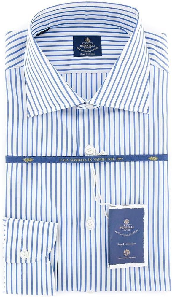 Luigi Borrelli Stripes Button Down Slim 35% New item OFF Fit Collar Spread Cotton