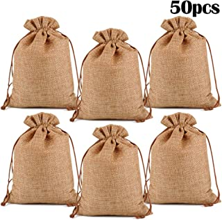 """Lucky Monet 25/50/100PCS Burlap Gift Bags Wedding Hessian Jute Bags Linen Jewelry Pouches with Drawstring for Birthday, Party, Wedding Favors, Present, Art and DIY Craft (50Pcs, Coffee, 4"""" x 6"""")"""
