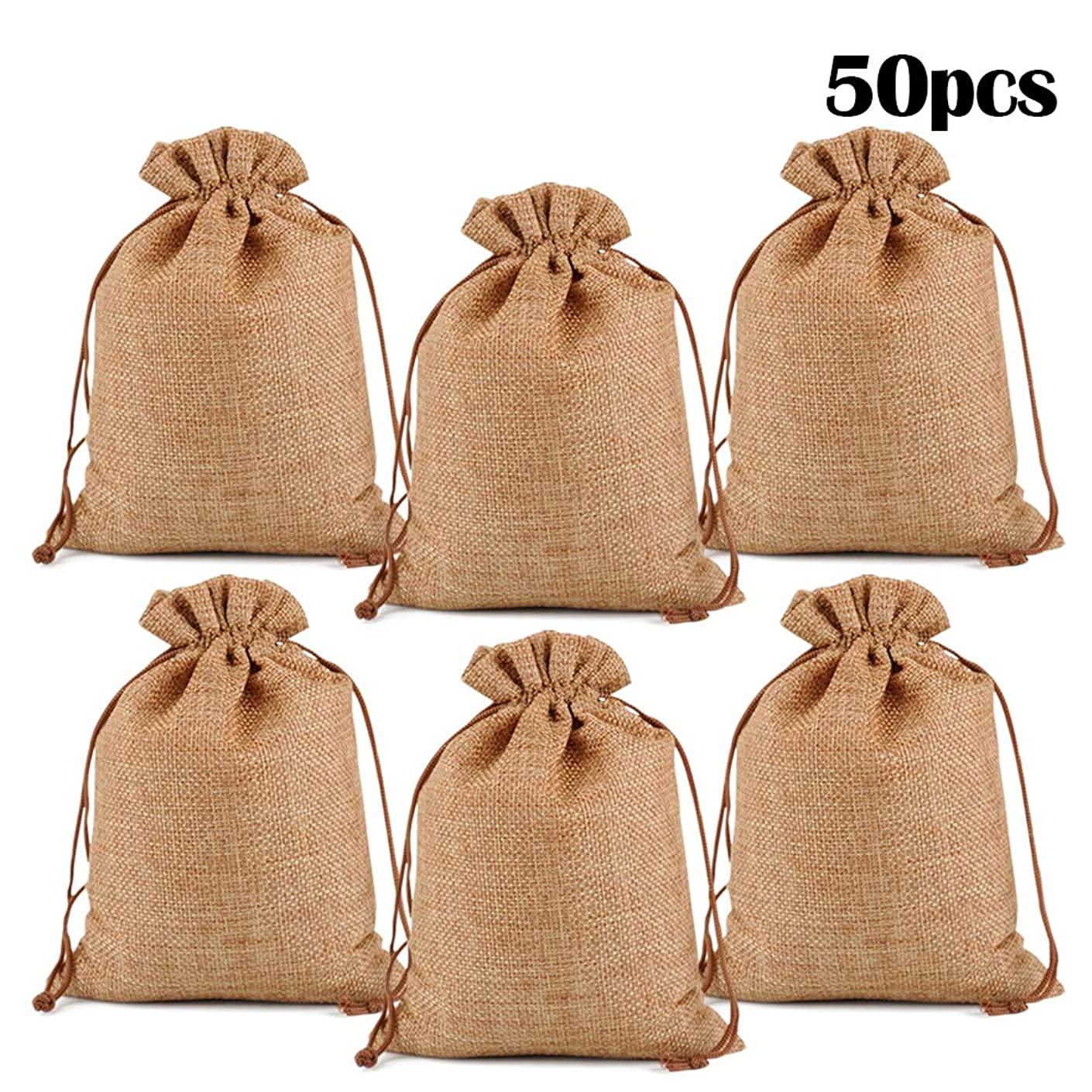 "Lucky Monet 25/50/100PCS Burlap Gift Bags Wedding Hessian Jute Bags Linen Jewelry Pouches with Drawstring for Birthday, Party, Wedding Favors, Present, Art and DIY Craft (50Pcs, Coffee, 4"" x 6"")"