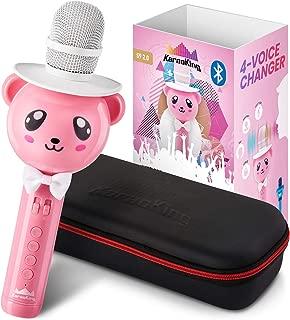 KaraoKing Wireless Portable Karaoke Microphone with Bluetooth for Kids (Pink)