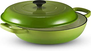 Klee Enameled Cast Iron Nonstick Sauce Pan with Lid, 3.8 Qt, 12-inch (Green)
