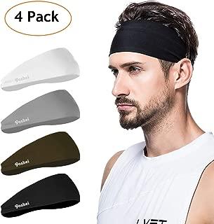 poshei Mens Headband (4 Pack), Mens Sweatband & Sports Headband for Running, Crossfit, Cycling, Yoga, Basketball - Stretchy Moisture Wicking Unisex Hairband