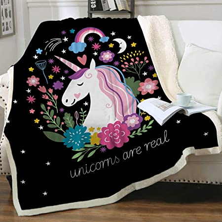 Magical Reversible Lolly Sequin Pillow /& Pink Candy Character Fleece Blanket Throw for Girls Great Unicorn Gift for Girls GirlZone Bundle