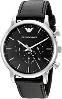 Emporio Armani Men'S Black Dial Leather Band Watch Ar1828, Quartz, Analog
