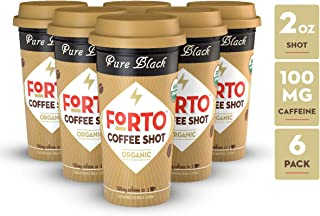 FORTO Coffee Shots - 100mg Caffeine, Pure Black, High Caffeine Cold Brew Coffee, Bottled Fast Coffee Energy Boost, 6 Pack