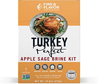 Fire & Flavor All Natural Turkey Perfect Apple Sage Brine Kit, Perfect for Roasting, Grilling, Smoking, and Frying 14.4 Ounces