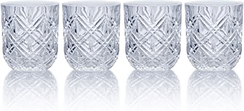 Mikasa Claremont Double Old-Fashioned Glasses Set of 4 Fine Crystal