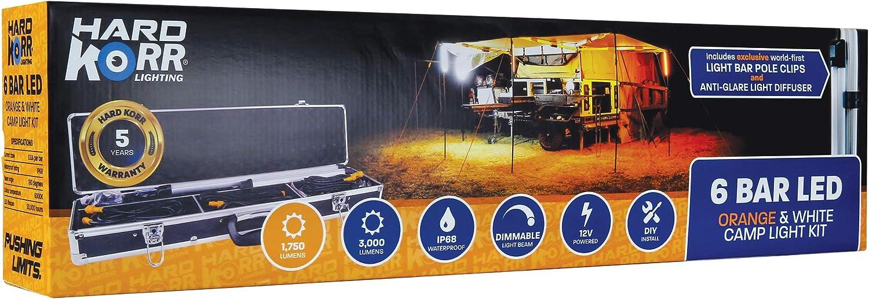 Hard Korr 6 Bar orange & White LED Camp Light Kit