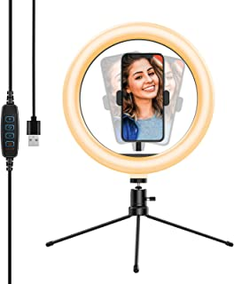 """Yoozon 10"""" Luz de Anillo LED fotográfica de Escritorio, 3 Color 10 Brillo, Trípode con Soporte Giratorio de teléfono para ..."""