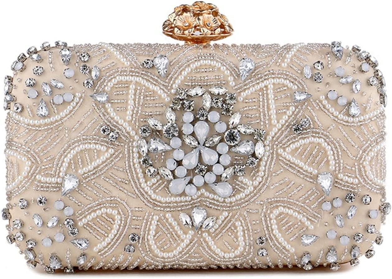 Mubolin Womens Crystal Evening Clutch Bag Wedding Purse Bridal Prom Handbag Party Bag (Color : Apricot)