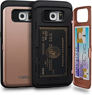TORU CX PRO Galaxy S6 Edge Wallet Case Pink with Hidden ID Slot Credit Card Holder Hard Cover & Mirror for Samsung Galaxy S6 Edge - Rose Gold