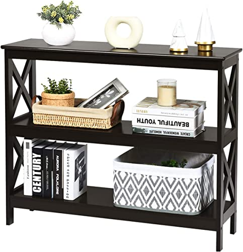 wholesale Giantex Console Table with Storage Shelves and X-Shape-Design Bookshelf Narrow Accent Table for Entryway, wholesale Hallway, online sale Living Room 3-Tier Sofa Side Table (Espresso) online sale