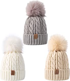 Baby Kids Winter Warm Fleece Lined Pompom Hats, Infant Toddler Children Beanie Cable Knit Slouchy Cap Girls Boys
