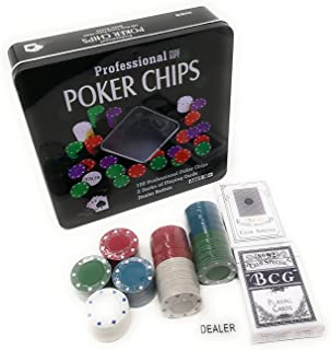 THY COLLECTIBLES Texas Hold 'em Black Jack Poker Chip Set with 100 Chips 2 Decks Of Playing Cards And 1 Dealer Button