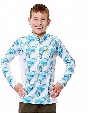793ae931d96e7 Nozone Boy s Long Sleeve Sun Protective Nautilus Swim Shirt - UPF ...