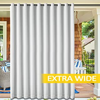 cololeaf Blackout Outdoor Curtains for Patio - Indoor Outdoor Curtains Water Resistant Thermal Insulated Privacy Protect Grommet Shade Drapes for Porch - Greyish White 100