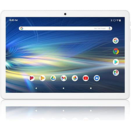 Android Tablet 10 Inch, 3G Unlocked Phablet with Dual SIM Card Slots and Cameras, Quad-Core Processor, 1280x800 IPS Screen, GMS Certified, WiFi, Bluetooth, GPS Tablets– Silver