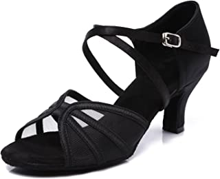 CLEECLI Women's Ballroom Dance Shoes Latin Salsa Practice Dancing Shoes ZB04