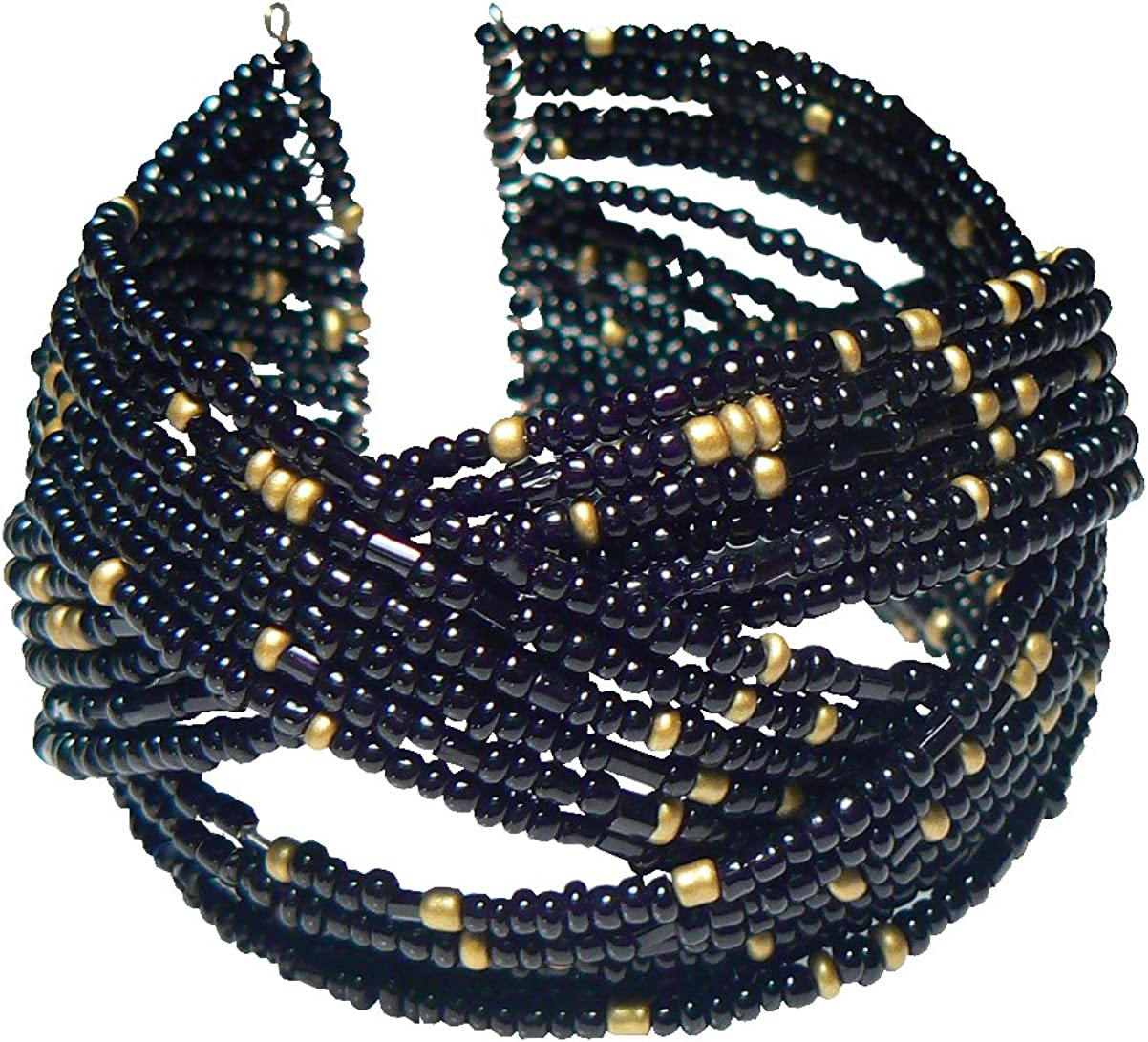 Wide Black and Matte Gold-Tone Braided Seed Bead Cuff Bracelet 1.5 Inches