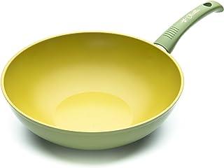 ILLA OL9728 Wok anti-adhésif à l'huile d'olive 100 % fabriqué en Italie, aluminium, vert, 28 cm
