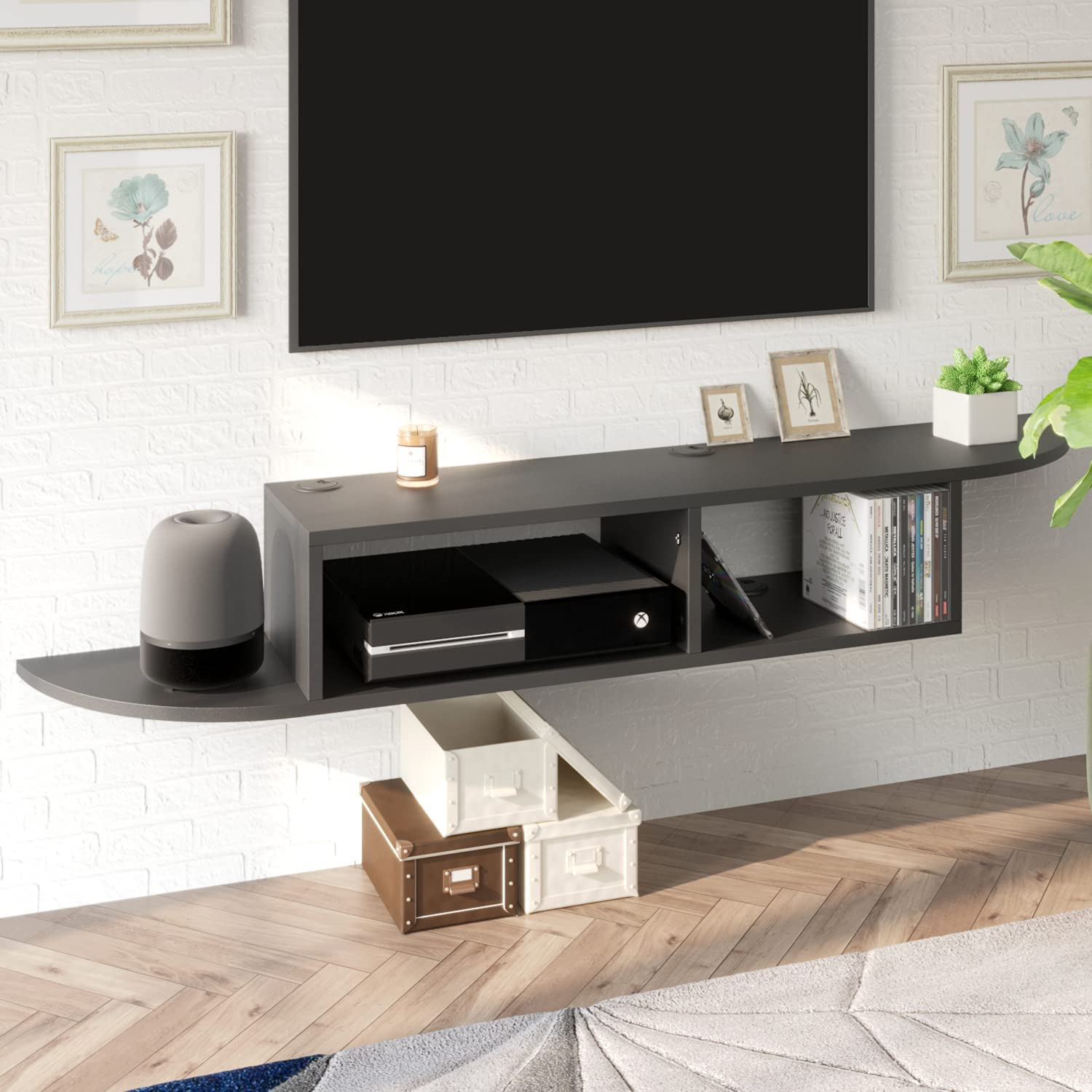 Floating TV Stand Entertainment Center safety Wall Mou Beauty products Modern Shelf