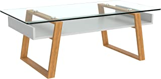 bonVIVO Coffee Table Donatella, Modern Coffee Table for Living Room, Home Decor White Coffee Table, Coffee or Side Table with Natural Wood Frame and Glass Top, Coffee Tables