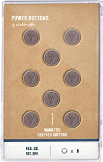 Würkin Stiffs 8 Grey Plastic Covered Magnetic Power Buttons in storage case - Collar Stays