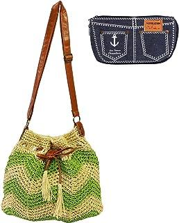 kilofly Women's Handmade Knitted Drawstring Shoulder Bag + Zippered Pouch