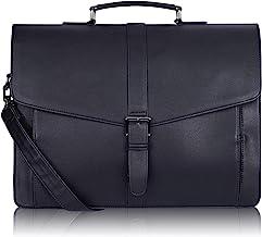 Estarer Laptoptasche Aktentasche 15.6 Zoll Businesstasche aus PU Leder für Herren Uni Arbeit Business Schwarz