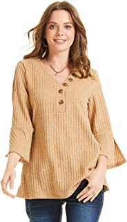 SONJA BETRO Women's Rib Knit Button Accent V-Neck 3/4 Bell Sleeve Tunic Plus Size