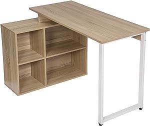 EUGAD Bureaux Table d'ordinateur 0078ZZ Table de Bureau Table de Travail avec étagères en Bois,Chêne Clair 116x75x80cm